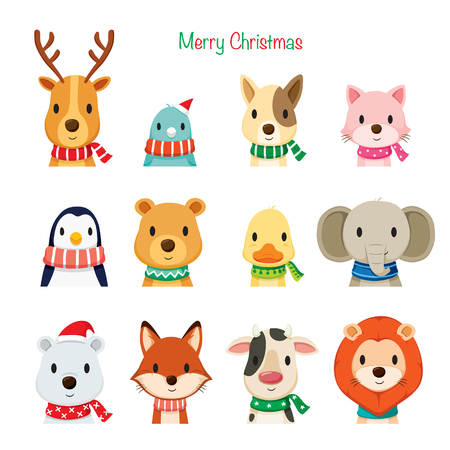 Photo pour Animals Faces With Neckerchief Set, Merry Christmas, Xmas, Happy New Year, Objects, Animals, Festive, Celebrations - image libre de droit