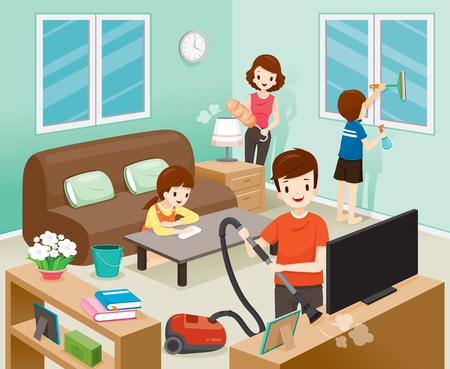 Ilustración de Father, Mother, Son And Daughter Cleaning Home Together, Housework, Appliance, House, Domestic Tools, Spring Season - Imagen libre de derechos