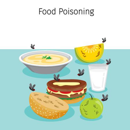 Ilustración de Many Flies flying Around Food, Drink And Fruits, Stomach, Internal Organs, Body, Physical, Sickness, Anatomy, Health - Imagen libre de derechos