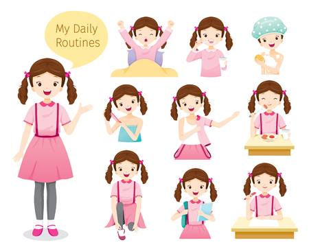 Illustration pour The Daily Routines Of Girl, People, Activities, Habit, Lifestyle, Leisure, Hobby, Avocation - image libre de droit