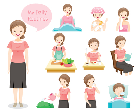 Illustration for The daily routines of old woman, people, activities, habit, lifestyle, leisure, hobby, avocation - Royalty Free Image