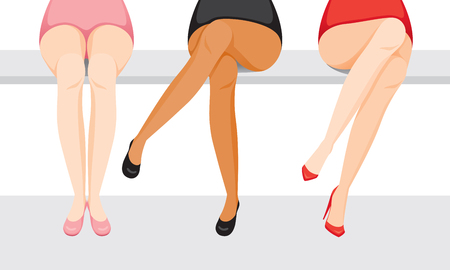 Ilustración de Women's Legs With Different Skin And Types Of Shoes, Sitting With One's Legs Crossed, Footwear, Fashion, Objects - Imagen libre de derechos