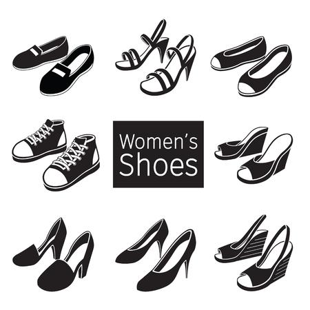Ilustración de Collection Of Different Women's Shoes Pair, Monochrome, Footwear, Fashion, Objects - Imagen libre de derechos