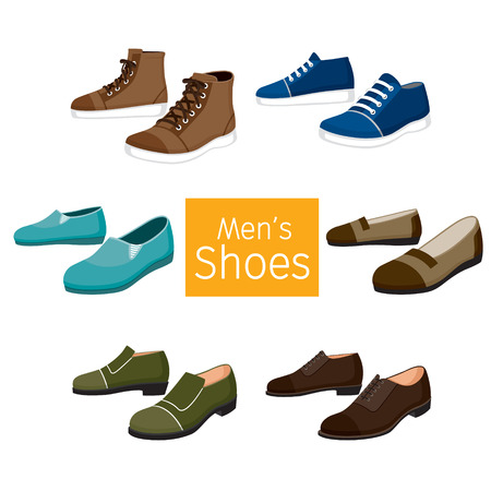 Ilustración de Collection Of Different Men's Shoes Pair, Footwear, Fashion, Objects - Imagen libre de derechos
