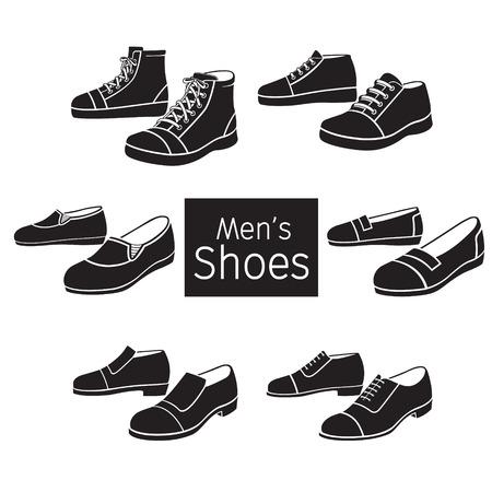 Ilustración de Collection Of Different Men's Shoes Pair, Monochrome, Footwear, Fashion, Objects - Imagen libre de derechos