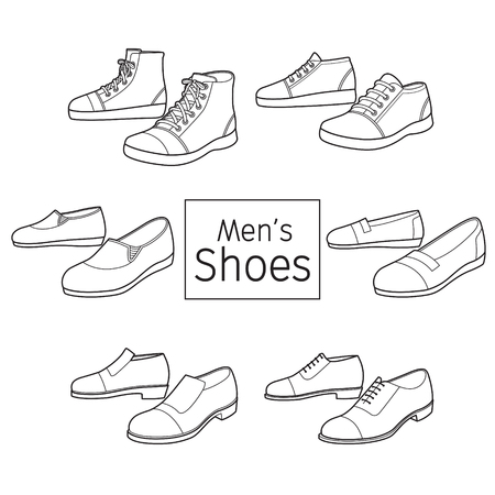 Ilustración de Collection Of Different Men's Shoes Pair, Outline, Footwear, Fashion, Objects - Imagen libre de derechos