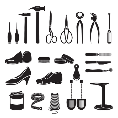 Ilustración de Set Of Shoes Repair Tool And Shoes Accessories, Monochrome, Footwear, Fashion, Objects - Imagen libre de derechos