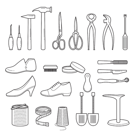 Ilustración de Set Of Shoes Repair Tools And Shoes Accessories, Outline, Footwear, Fashion, Objects - Imagen libre de derechos