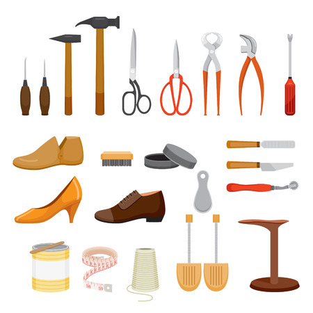 Ilustración de Set Of Shoes Repair Tool And Shoes Accessories, Footwear, Fashion, Objects - Imagen libre de derechos