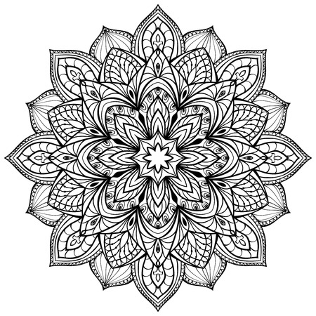 Ilustración de Vector graphic mandala isolated on white background. The stylized elements of Gothic architecture. Sketch of tattoo. - Imagen libre de derechos