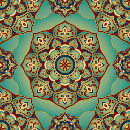 Illustration pour Traditional ornamental pattern. Oriental, seamless, vector background with mandalas. This pattern can be used for the design of the carpet, shawl, wallpaper, tiles, cushion. - image libre de droit