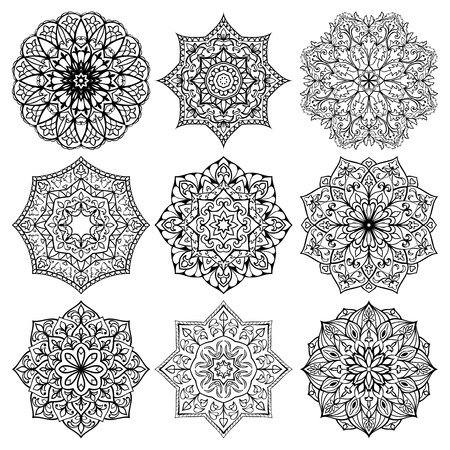 Illustration pour Set of mandalas. Collection of stylized stars and snowflakes. Vector round ethnic ornaments. Template for embroidery.  Sketches for tattoo. Architectural decorative details. - image libre de droit