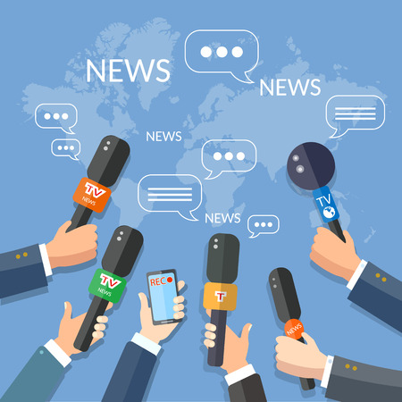 Illustration for World live news report press concept hands of journalists with microphones and smartphone recording - Royalty Free Image