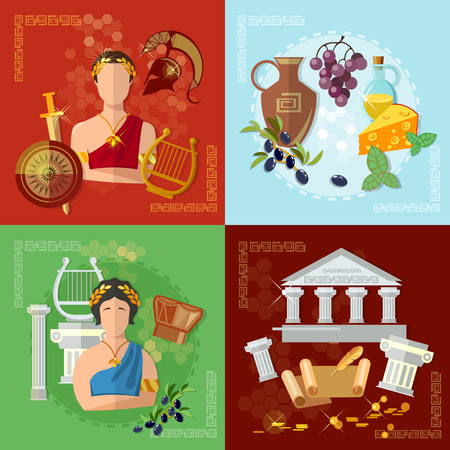 Illustration for Ancient Greece and Rome tradition and culture vector set collection - Royalty Free Image