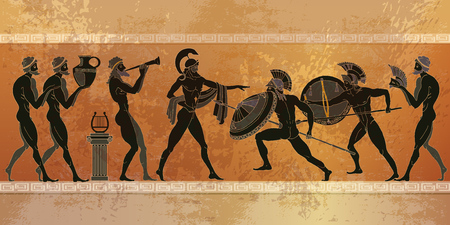 Illustration for Ancient Greece scene. Black figure pottery. Ancient Greek mythology. Ancient warriors Sparta people, gods of  Olympus. Classical style - Royalty Free Image