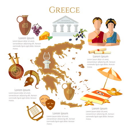 Illustration for Ancient Greece and Ancient Rome infographics. sights, culture, traditions, map, ancient greece people. Template elements - Royalty Free Image