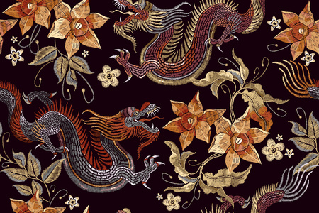 Illustration for Embroidery dragons and flowers seamless pattern. Classical embroidery Asian dragon and beautiful vintage flowers seamless pattern. China dragons vector - Royalty Free Image