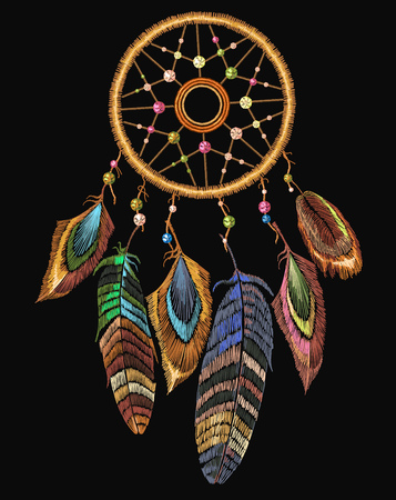 Illustration for Embroidery dreamcatcher boho native american Indian talisman dreamcatcher. - Royalty Free Image