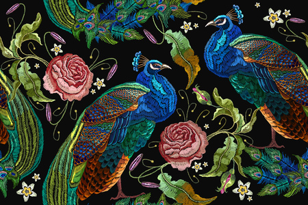 Illustration pour Embroidery peacocks and flowers peonies seamless pattern. Classical fashionable embroidery beautiful peacocks. - image libre de droit