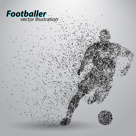 Ilustración de silhouette of a football player from particles. Text and background on a separate layer, color can be changed in one click. - Imagen libre de derechos