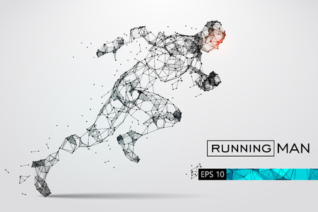 Ilustración de Silhouette of a running man from particles. Vector illustration - Imagen libre de derechos