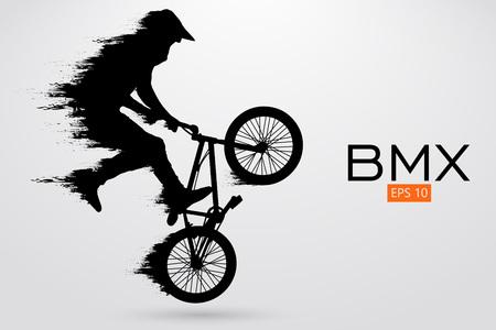 Illustrazione per Silhouette of a BMX rider. Vector illustration - Immagini Royalty Free