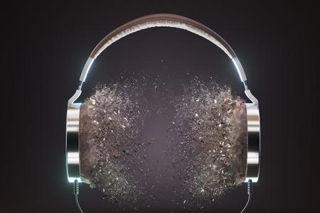 Photo for Retro headphones. Vintage old style 3d render illustration. - Royalty Free Image