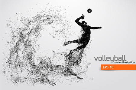 Illustration for Silhouette of volleyball player. - Royalty Free Image