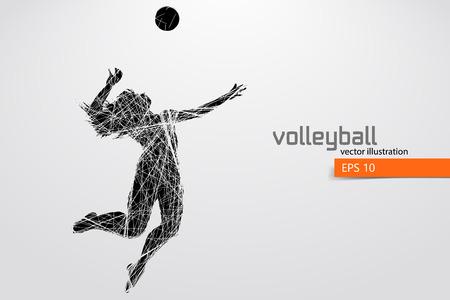 Photo pour Silhouette of volleyball player. - image libre de droit