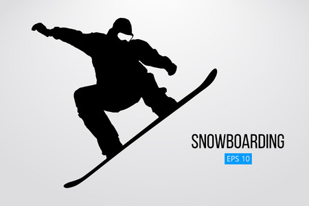 Ilustración de Silhouette of a snowboarder jumping isolated. Vector illustration - Imagen libre de derechos