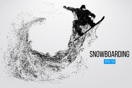 Illustration for Silhouette of a snowboarder jumping isolated. Vector illustration - Royalty Free Image