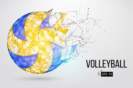 Ilustración de Silhouette of a volleyball ball. Dots, lines, , text, color effects and on a separate layers, color can be changed in one click. illustration. - Imagen libre de derechos