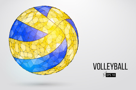 Illustration pour Silhouette of a volleyball ball. Dots, lines, triangles, text, color effects and background on a separate layers, color can be changed in one click. Vector illustration. - image libre de droit