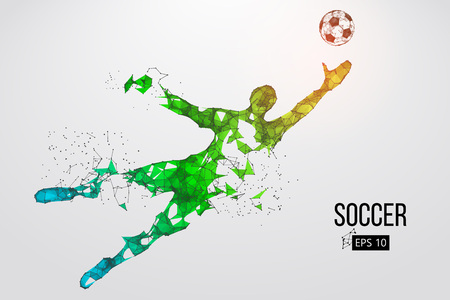 Illustration for silhouette of a football player from particles. Vector illustration - Royalty Free Image
