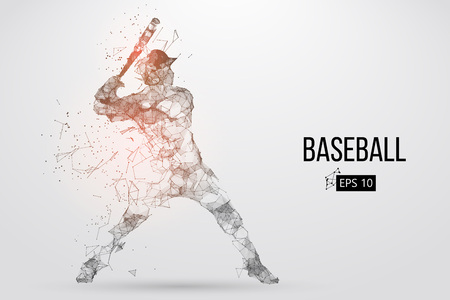 Ilustración de Silhouette of a baseball player. Dots, lines, triangles, text, color effects and background on a separate layers, color can be changed in one click. Vector illustration. - Imagen libre de derechos
