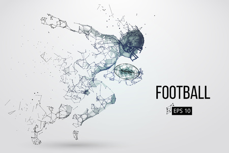 Illustration pour Silhouette of a football player. Dots, lines, triangles, text, color effects and background on a separate layers, color can be changed in one click. Vector illustration - image libre de droit
