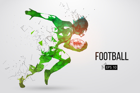 Illustration for Silhouette of a football player. Dots, lines, triangles, text, color effects and background on a separate layers, color can be changed in one click. Vector illustration - Royalty Free Image