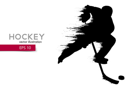 Ilustración de silhouette of a hockey player. Background and text on a separate layer, color can be changed in one click. - Imagen libre de derechos