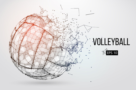 Ilustración de Silhouette of a volleyball ball. Dots, lines, triangles, text, color effects and background on a separate layers, color can be changed in one click. Vector illustration. - Imagen libre de derechos