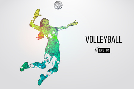Illustration for Silhouette of volleyball player. Vector illustration. - Royalty Free Image