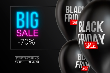 Ilustración de Black Friday Sale poster with Balloons on background. Vector illustration. - Imagen libre de derechos