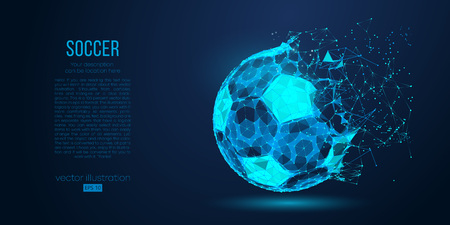 Illustration pour Abstract silhouette of a soccer ball from particles, lines and triangles on blue background. Football. Elements on a separate layers color can be changed to any other in one click. Vector illustration - image libre de droit