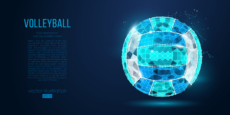 Ilustración de Abstract silhouette of a volleyball ball from particles, lines and triangles on blue background. Neon light. Elements on a separate layers color can be changed in one click. Vector illustration - Imagen libre de derechos
