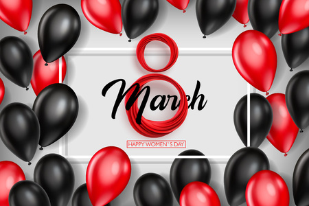 Illustration for Banner for the International Women's Day. Black and red balloons with red March 8 on the white background. Vector illustration - Royalty Free Image