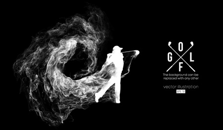Illustrazione per Abstract silhouette of a golf player, golfer on the dark, black background from particles, dust, smoke, steam. Golfer kicks the ball. Background can be changed to any other. Vector illustration - Immagini Royalty Free