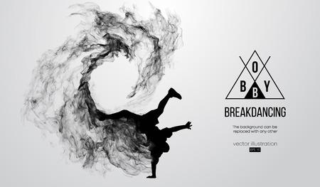 Illustrazione per silhouette of a breakdancer, man, breaker breaking - Immagini Royalty Free
