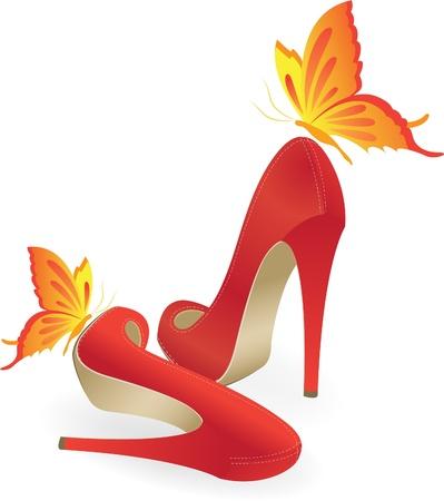 Illustration pour Red shoes high-heeled - image libre de droit