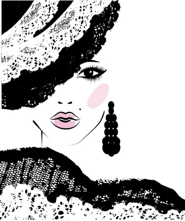 Ilustración de girl with a fashionable hairstyle in a lace hat, fashion illustration - Imagen libre de derechos