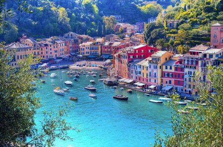 Photo pour panorama of Portofino Liguria Italy - image libre de droit