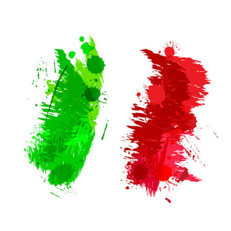 Illustration for Colored splashes in abstract shape Italian flag - Royalty Free Image
